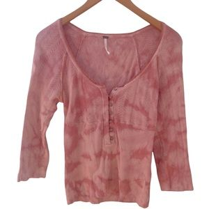 Free People tie dyed pink jersey long sleeve top